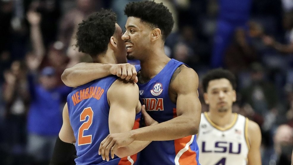 huge selection of 7ef13 a486d Florida guard Andrew Nembhard (2) is hugged by Jalen Hudson after Nembhard  hit the winning 3-point basket against LSU in the second half of an NCAA  college ...
